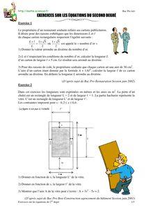 Exercices sur les équations du 2nd degré - Annales du bac