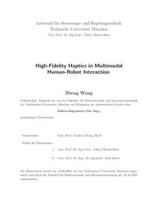 High-fidelity haptics in multimodal human-robot interaction [Elektronische Ressource] / Zheng Wang