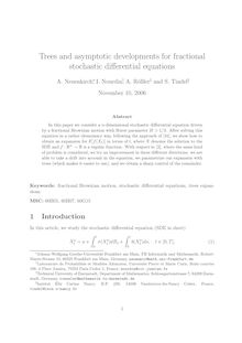 Trees and asymptotic developments for fractional stochastic differential equations