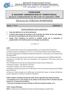Tableau Numerique 2009 Concours Externe Interne 3eme Voie Adjoint Admi