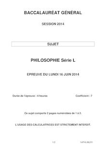 Sujets bac 2014 - Série L - Philo