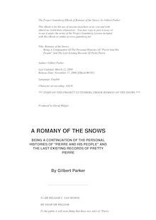 "Romany of the Snows, Continuation of ""Pierre and His People"""