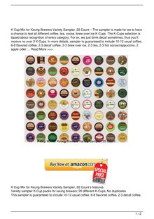 K Cup Mix for Keurig Brewers Variety Sampler 30 Count Food Review