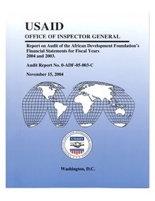 Report on Audit of the African Development Foundation's Financial  Statements for Fiscal Years 2004