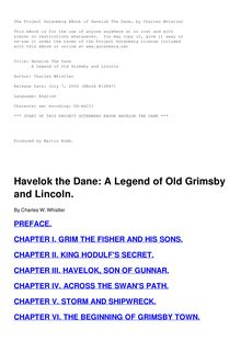 Havelok the Dane - A Legend of Old Grimsby and Lincoln