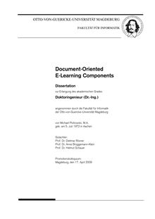 Document-oriented e-learning components [Elektronische Ressource] / von Michael Piotrowski