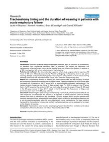 Tracheostomy timing and the duration of weaning in patients with acute respiratory failure