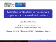 Geometric constructions in relation with algebraic and transcendental numbers