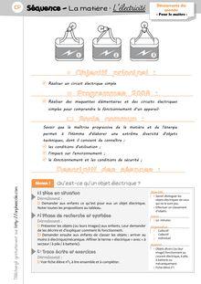 DDM CP/CE1 – La matière : l'électricité - Séquence 2 – L'électricité, Mersadi Mersadi Lélectricité Préparations