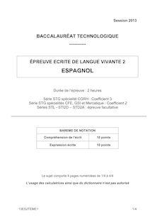 Bac 2013 Techno Espagnol LV2