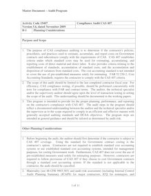 Activity Code 19407, Compliance Audit CAS 407, Version 5.6, dated  November 2009