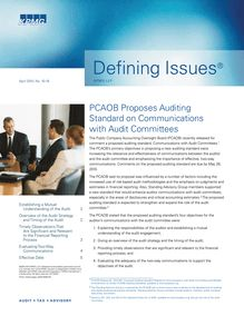 Defining Issues 2010 04, Issue 18 - PCAOB Proposes Auditing Standard  on Communications with Audit Committees
