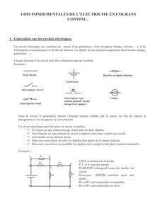 Les lois du courant continu - cours de physique-chimie - 4e