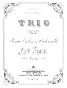 Partition de piano, Piano Trio, Simon, Anton