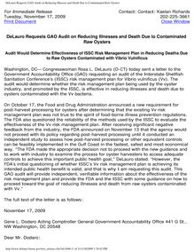 DeLauro Requests GAO Audit on Reducing Illnesses and Death Due to Contaminated Raw Oysters