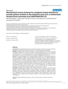 Remifentanil versus fentanyl for analgesia based sedation to provide patient comfort in the intensive care unit: a randomized, double-blind controlled trial [ISRCTN43755713]