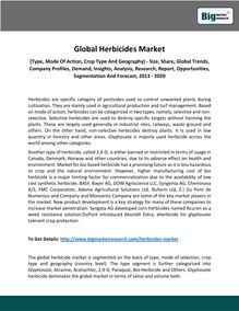 Global Herbicides Market  (Type, Mode Of Action, Crop Type And Geography) - Size, Share, Global Trends, Company Profiles, Demand, Insights, Analysis, Research, Report, Opportunities, Segmentation And Forecast, 2013 - 2020