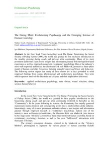 The dating mind: Evolutionary psychology and the emerging science of human courtship