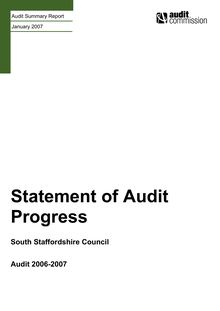 South Staffordshire Council - Statement of Audit Progress  FINAL