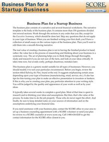 Business Plan for a Startup Business Template