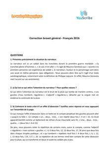 Brevet des collèges Français 2016 corrigé
