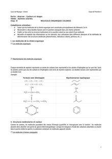Cours sur les molécules organiques colorées - physique-chimie pour les classes de 1ère S