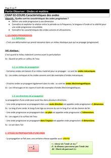 Cours sur les caractéristiques des ondes - physique-chimie terminales S