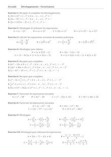 Exercice de seconde sur la factorisation et le développement