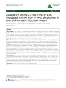 Associations among 25-year trends in diet, cholesterol and BMI from 140,000 observations in men and women in Northern Sweden