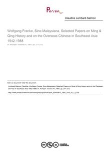 Wolfgang Franke, Sino-Malaysiana, Selected Papers on Ming & Qing History and on the Overseas Chinese in Southeast Asia 1942-1988  ; n°1 ; vol.41, pg 211-213