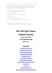 The New York Times Current History, A Monthly Magazine - The European War, March 1915