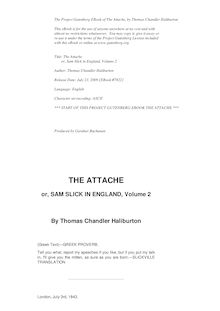 The Attaché; or, Sam Slick in England — Volume 02