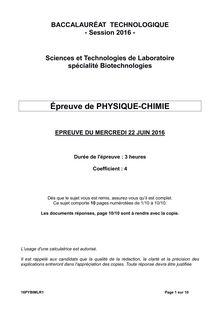 Baccalauréat Biologie-Chimie 2016 - Série STL