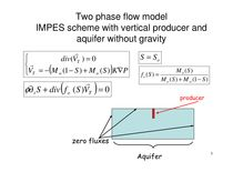 1Two phase flow model IMPES scheme with vertical producer and