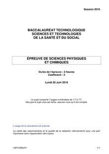 Baccalauréat Physique - Série ST2S