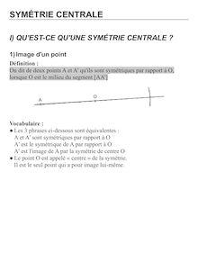 Cours symétrie centrale