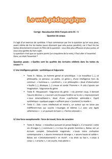 Baccalauréat Français 2016 - Séries ES - S - Questions