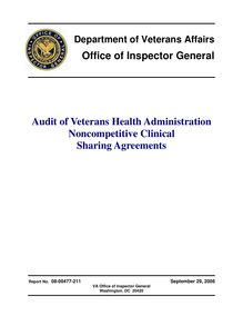 Department of Veterans Affairs Office of Inspector General Audit of  Veterans Health Administration