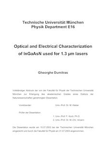 Optical and electrical characterization of InGaAsN used for 1.3 {_m63m [my m] lasers [Elektronische Ressource] / Gheorghe Dumitras