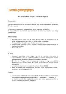 Baccalauréat Français 2016 - Séries technologiques - Commentaire