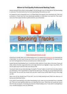 Where to Find Quality Professional Backing Tracks