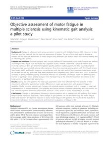 Objective assessment of motor fatigue in multiple sclerosis using kinematic gait analysis: a pilot study