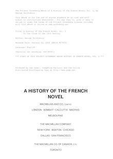 A History of the French Novel, Vol. 2 - To the Close of the 19th Century