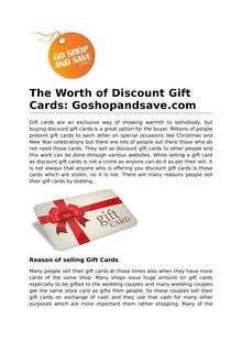The Worth of Discount Gift Cards: Goshopandsave.com