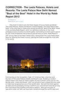 "CORRECTION - The Leela Palaces, Hotels and Resorts: The Leela Palace New Delhi Named ""Best of the Best"" Hotel in the World by Robb Report 2012"