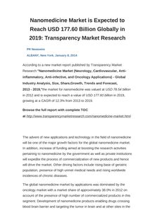 Nanomedicine Market is Expected to Reach USD 177.60 Billion Globally in 2019: Transparency Market Research