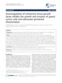 Downregulation of connective tissue growth factor inhibits the growth and invasion of gastric cancer cells and attenuates peritoneal dissemination