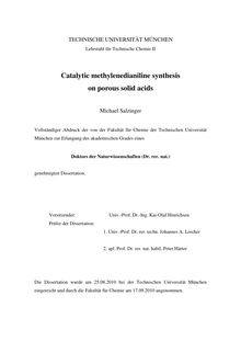 Catalytic methylenedianiline synthesis on porous solid acids [Elektronische Ressource] / Michael Salzinger