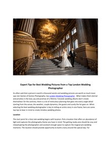 Expert Tips for Best Wedding Pictures from a Top London Wedding Photographer