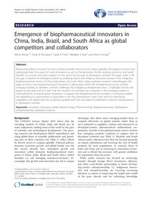 Emergence of biopharmaceutical innovators in China, India, Brazil, and South Africa as global competitors and collaborators
